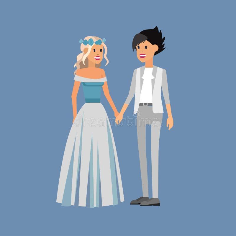 Нетрадиционная семья Счастливый милый гей и лесбиянка свадьбы иллюстрация штока