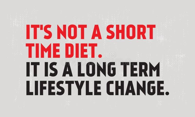 Нет диеты короткого периода времени Долгосрочная цитата мотивации изменения образа жизни бесплатная иллюстрация