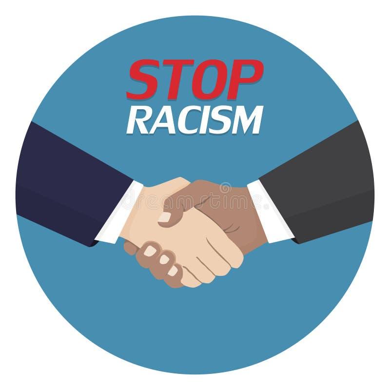 Нет к плакату расизма Символ дискриминации Значок рукопожатия также вектор иллюстрации притяжки corel бесплатная иллюстрация