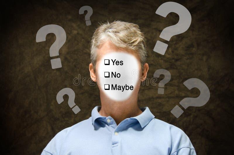 Неуверенный спрашивая потребитель избирателя человека стоковое фото