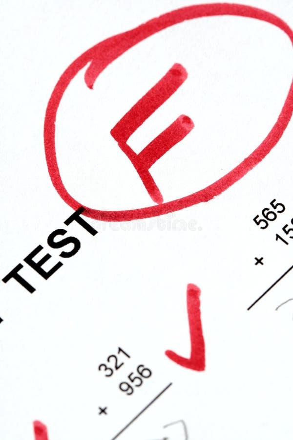неудачное испытание стоковое изображение rf