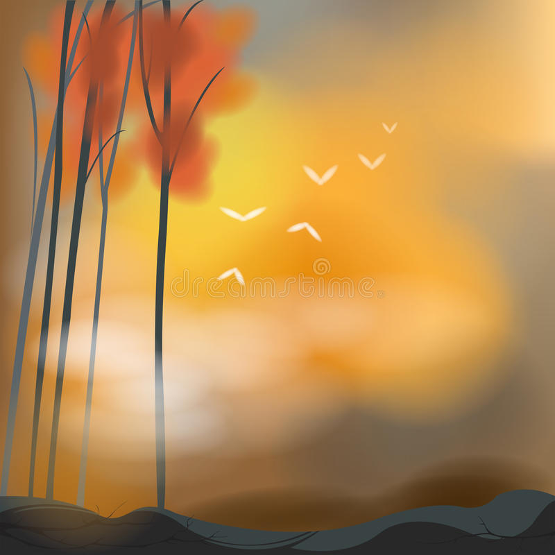 Неурожайная предпосылка в сцене захода солнца иллюстрация штока