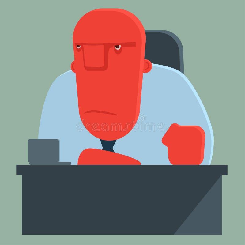 Неудовлетворенный босс сидит на таблице иллюстрация штока