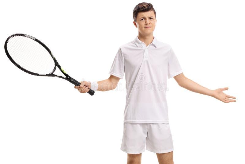 Неудовлетворённый подростковый теннисист стоковые фотографии rf
