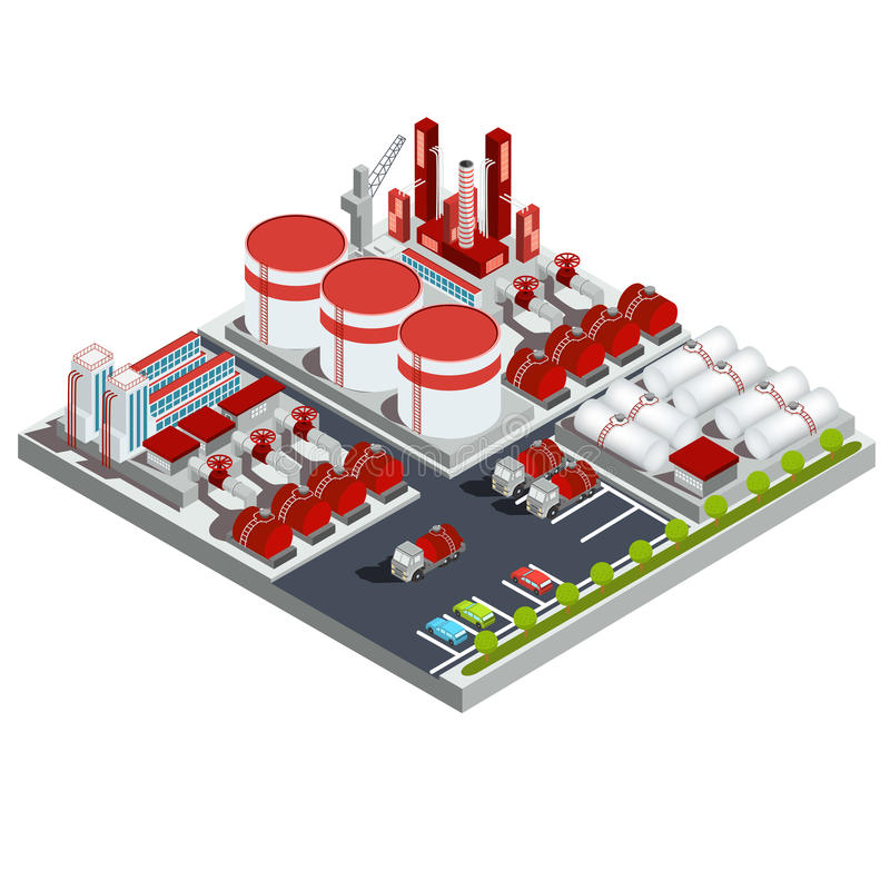 Нефтеперерабатывающее предприятие иллюстраций вектора равновеликое иллюстрация вектора