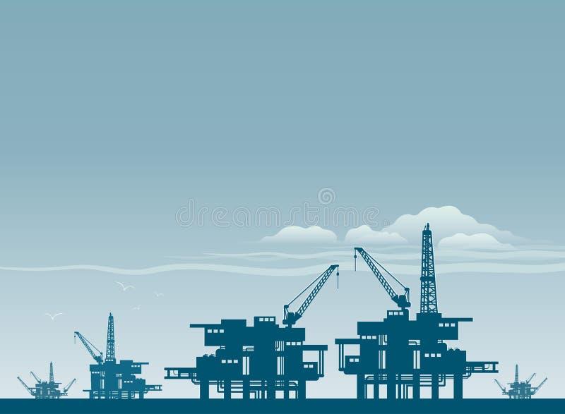 Нефтяная вышка в море иллюстрация штока