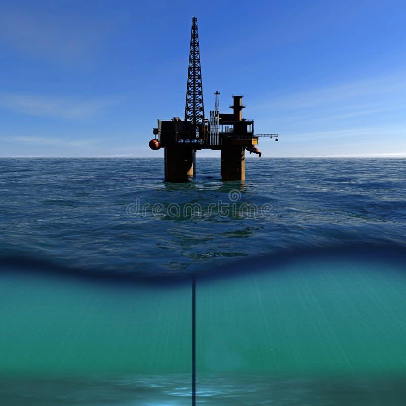Нефтяная платформа на море иллюстрация штока
