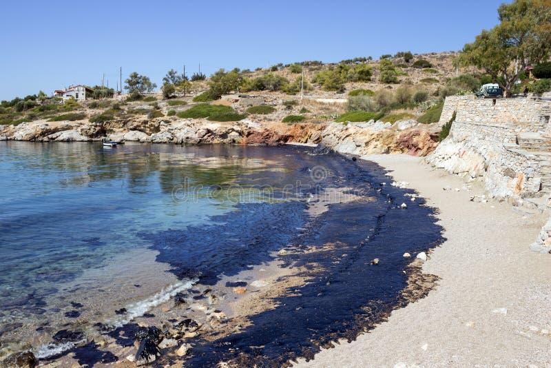 Нефтяное пятно Относящое к окружающей среде бедствие Взгляд загрязнянного пляжа стоковое фото rf