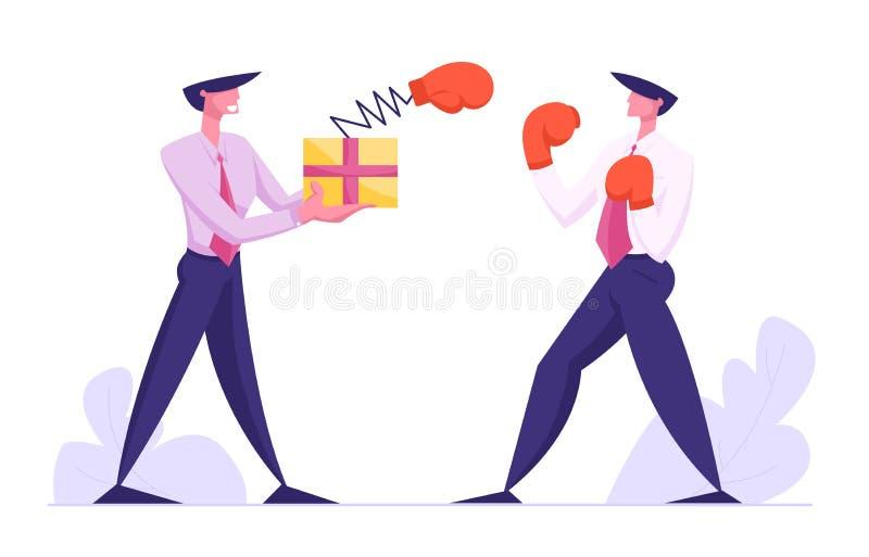 Нечестная драка, бизнесмен, борющийся с мужской коробкой с боксерской перчаткой на весне, драка с управляющими персонажами иллюстрация вектора