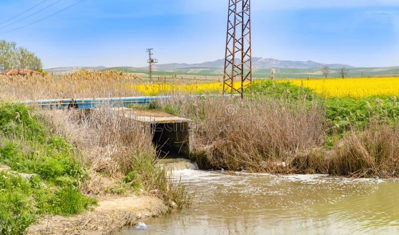 Нечистоты от сточной трубы загрязняют реку Sakarya около Polatli, Анкара, Турции стоковое изображение