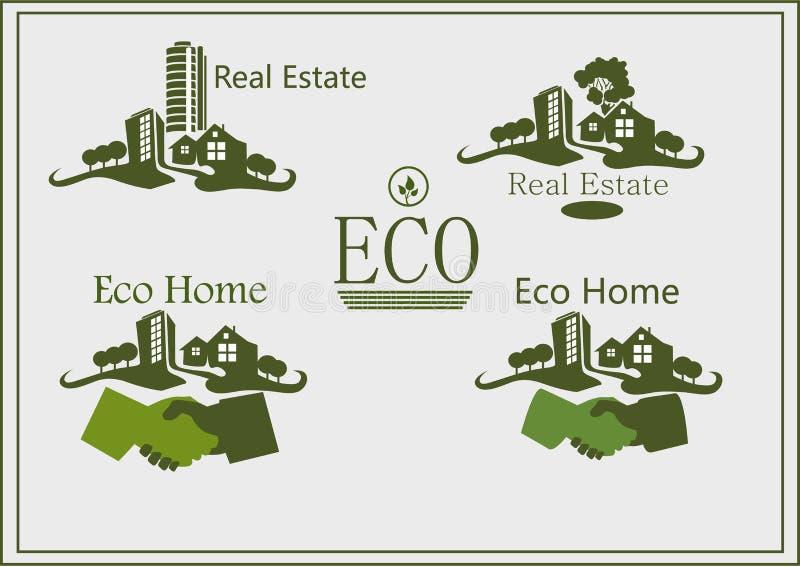 Недвижимость, значки, дом eco. бесплатная иллюстрация