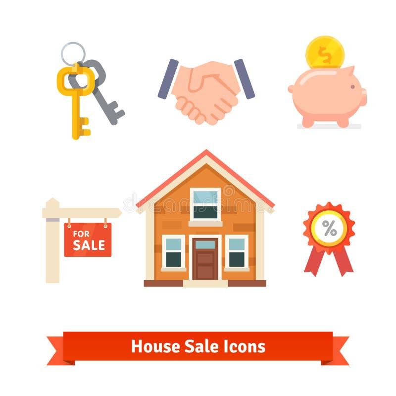 Недвижимость, ипотека дома, заем, покупая значки иллюстрация вектора