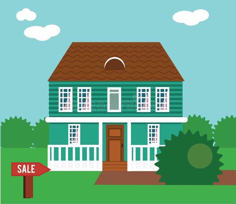 Недвижимость на продаже Дом, коттедж, таунхаус, иллюстрация вектора особняка бесплатная иллюстрация