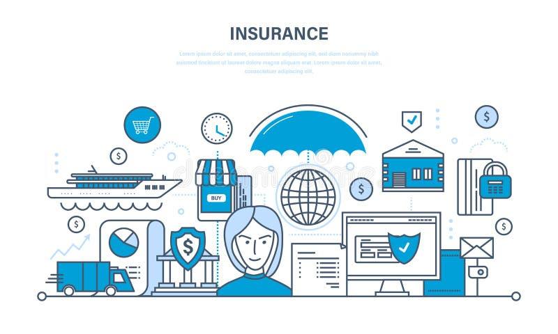 Недвижимость страхования и свойство, безопасность гарантии финансовых депозитов, сбережений иллюстрация штока