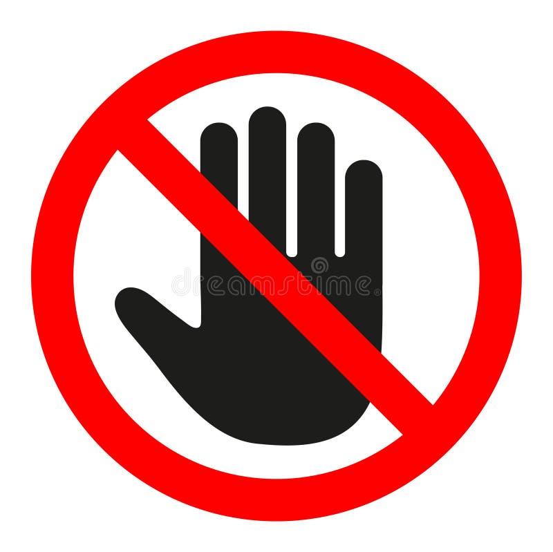 Не впишите знак стопа красный с рукой стоковое изображение