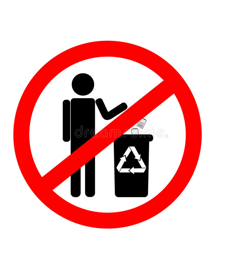 Не засоряйте знак, запрет засаривать, запрет на размещать батареи иллюстрация вектора