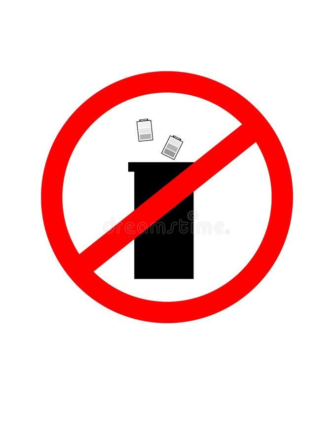 Не засоряйте знак, запрет на размещать батареи Значок знака запрета иллюстрация штока