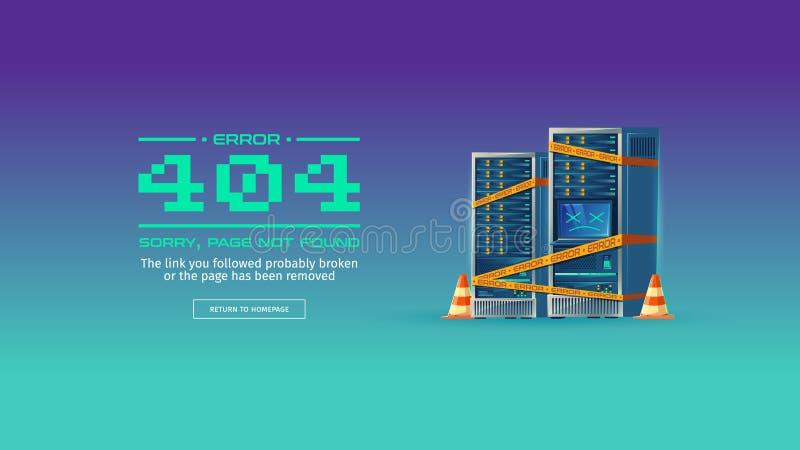 Не найденная страница, знамя концепции вектора 404 ошибок иллюстрация вектора