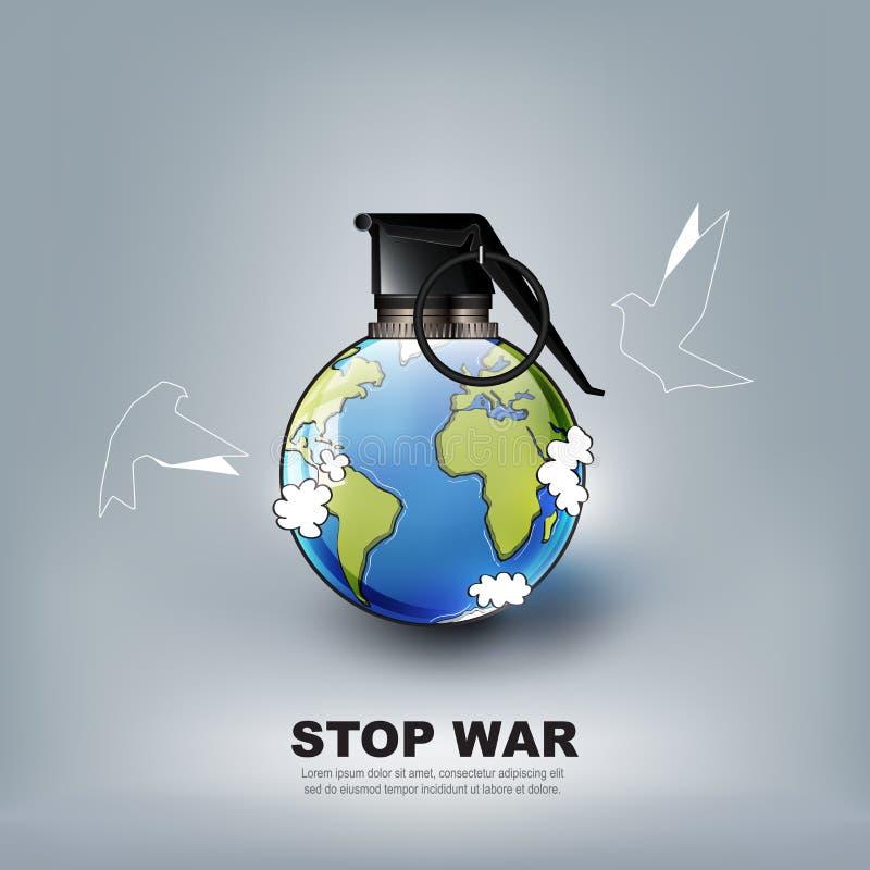 Не остановите рекламу концепции мировой войны, никакую войну в форме бомбы ручной гранаты и голубя летания, иллюстрацию вектора иллюстрация вектора