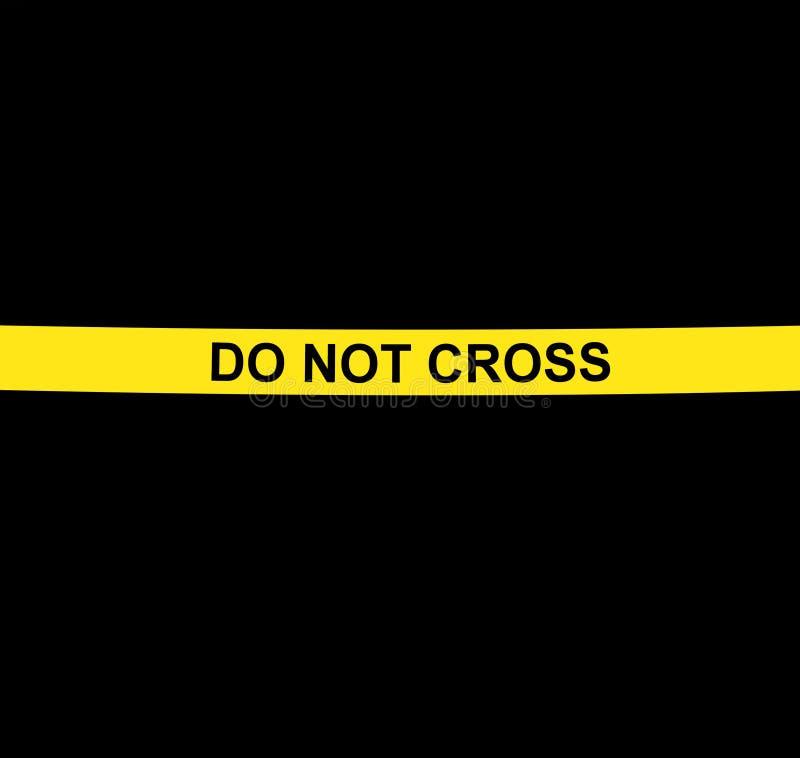 НЕ ПЕРЕСЕКИТЕ желтую предупреждающую ленту против черной предпосылки стоковое фото rf
