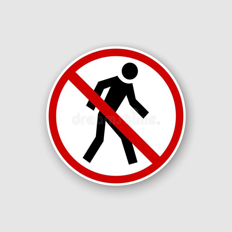 Не побегите, знак запрета Запрещенный бежать, иллюстрация штока