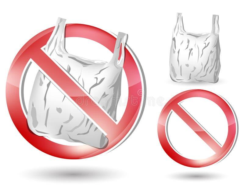 не положите никакой пластичный знак в мешки бесплатная иллюстрация