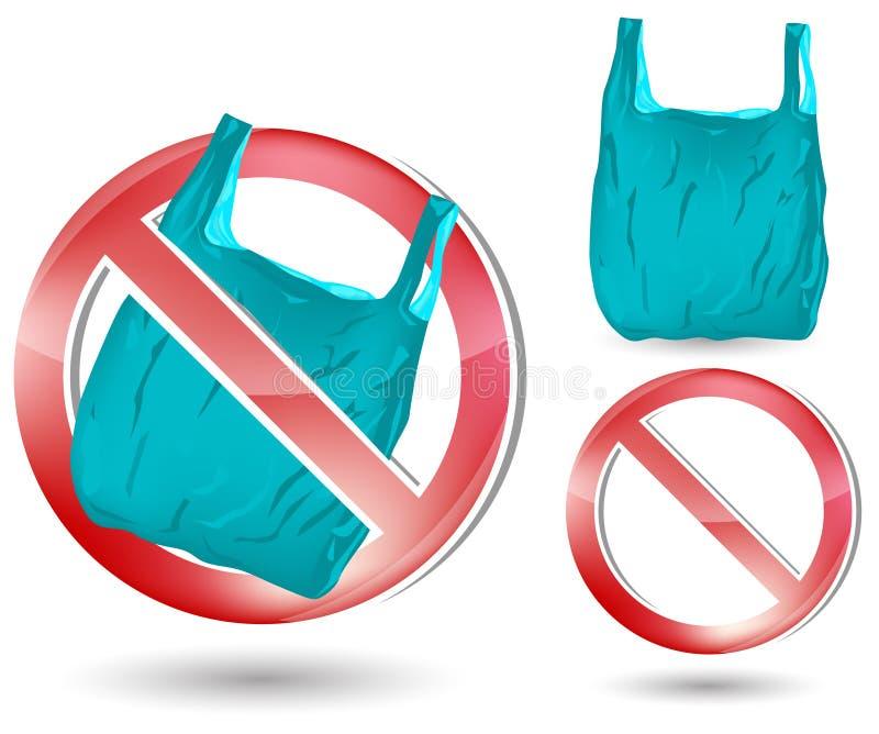 не положите никакой пластичный знак в мешки иллюстрация штока