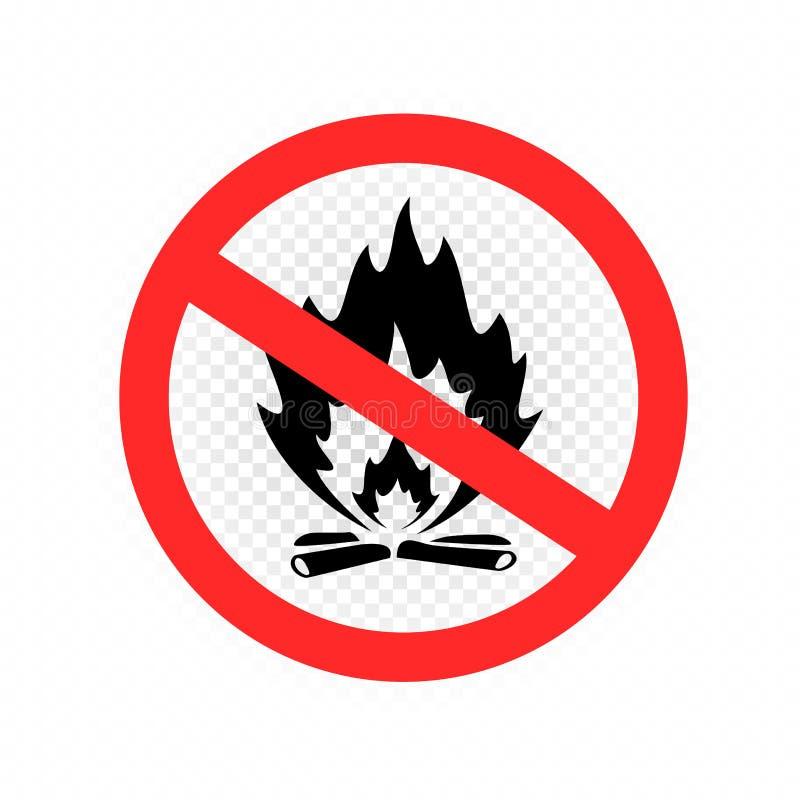 Не сделайте значок знака огня лагеря иллюстрация штока