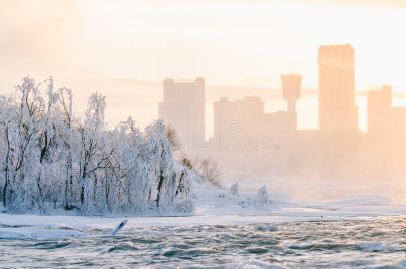 Ниагарский Водопад в зиме, США стоковые фотографии rf