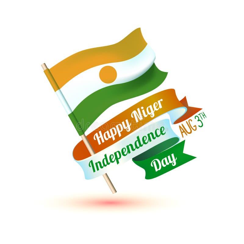 Нигерия независимость дня счастливая 3-ье августа Карточка с флагом иллюстрация штока
