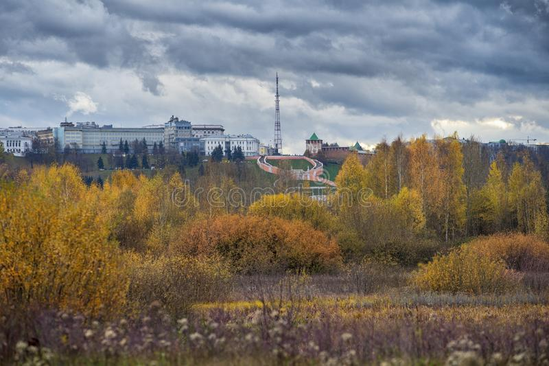 Нижегородской Кремль и панорамный вид стоковое фото
