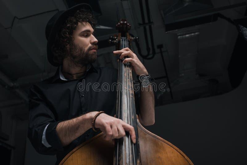 нижний взгляд молодого красивого музыканта стоковая фотография