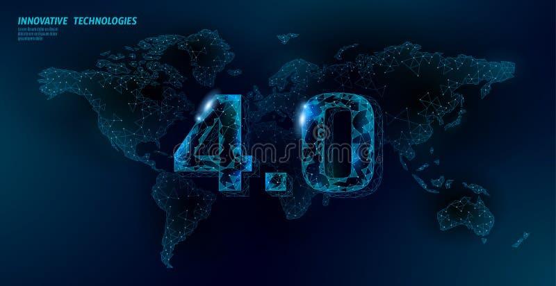 Низкая поли глобальная будущая концепция промышленного переворота Глобальное соединение карты мира человеческое Онлайн технология иллюстрация вектора