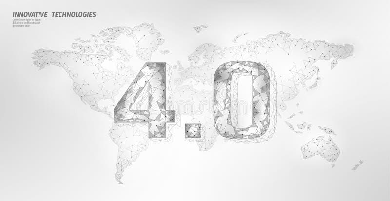 Низкая поли глобальная будущая концепция промышленного переворота Глобальное соединение карты мира человеческое Онлайн технология иллюстрация штока