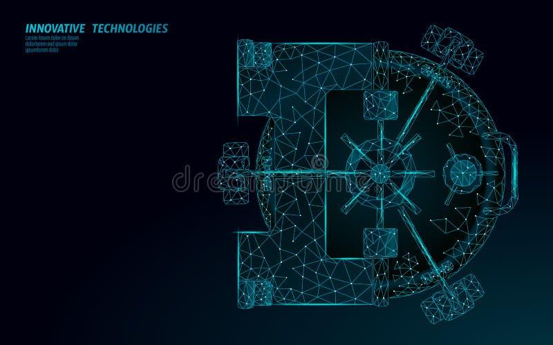 Низкая поли голубая дверь креня свода Стальное хранение денег безопасности концепция дела финансов богатства наличных денег 3D За иллюстрация штока