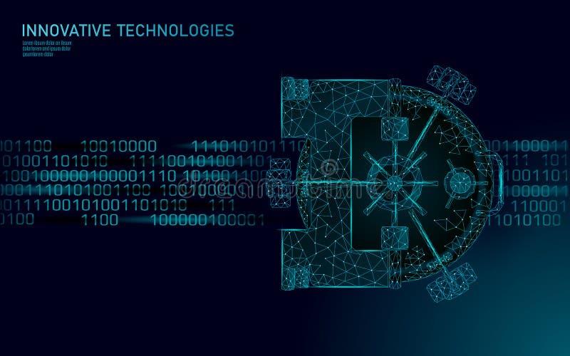 Низкая поли голубая дверь креня свода Хранение безопасности данным по уединения информация 3D защитить концепцию бизнеса безопасн иллюстрация штока
