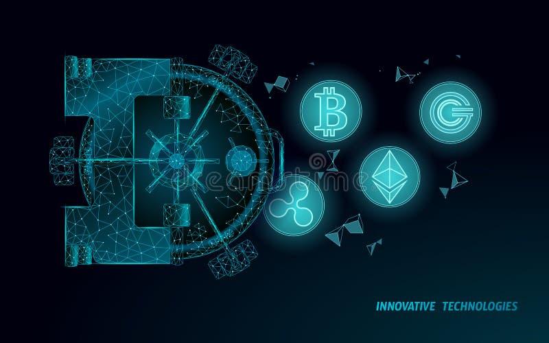 Низкая поли голубая дверь креня свода Хранение безопасности данным по уединения информация 3D защитить концепцию cryptocurrency б бесплатная иллюстрация