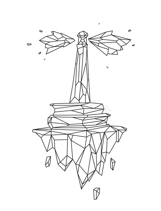 Низкая поли иллюстрация маяка на воздушном острове r o r Предпосылка, символ, эмблема для иллюстрация вектора