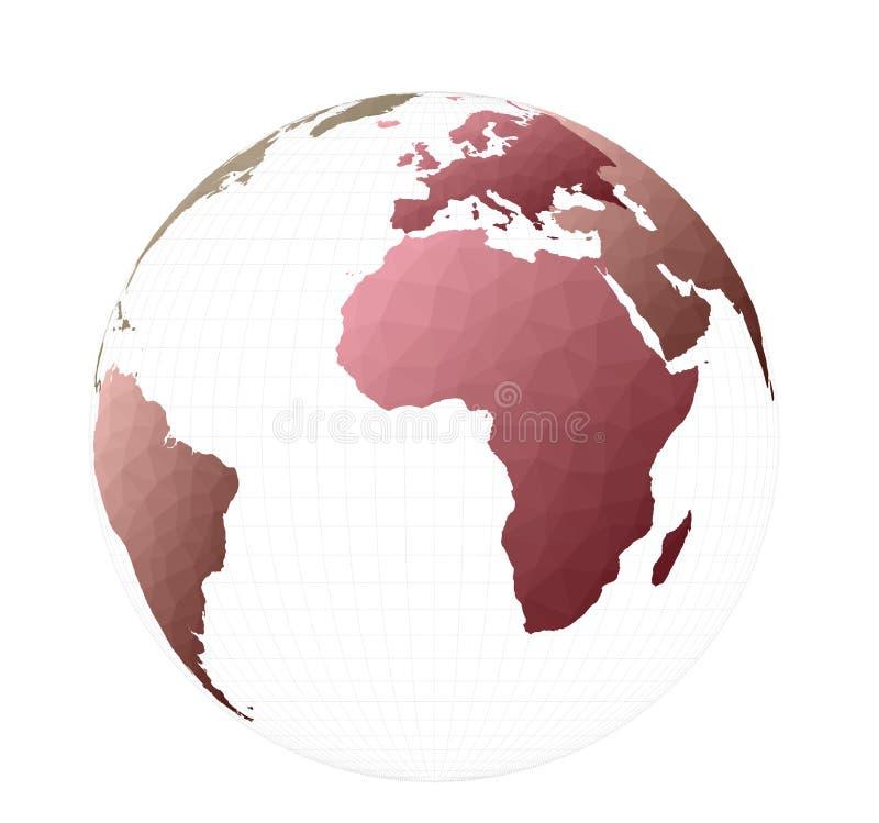 Низкая поли карта мира стиля иллюстрация вектора