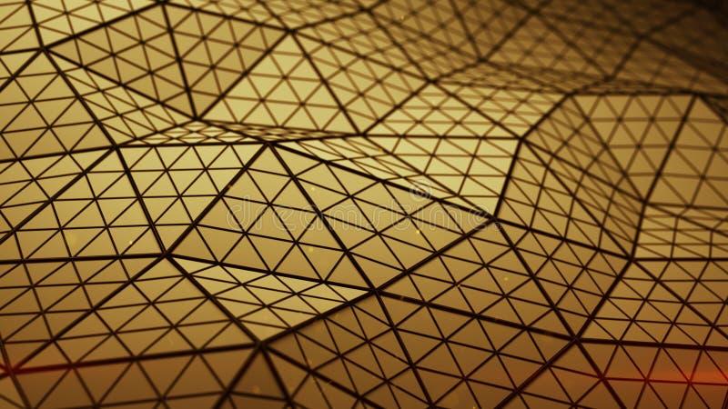 Низкая поли оранжевая triangulated поверхность 3D представить иллюстрация вектора