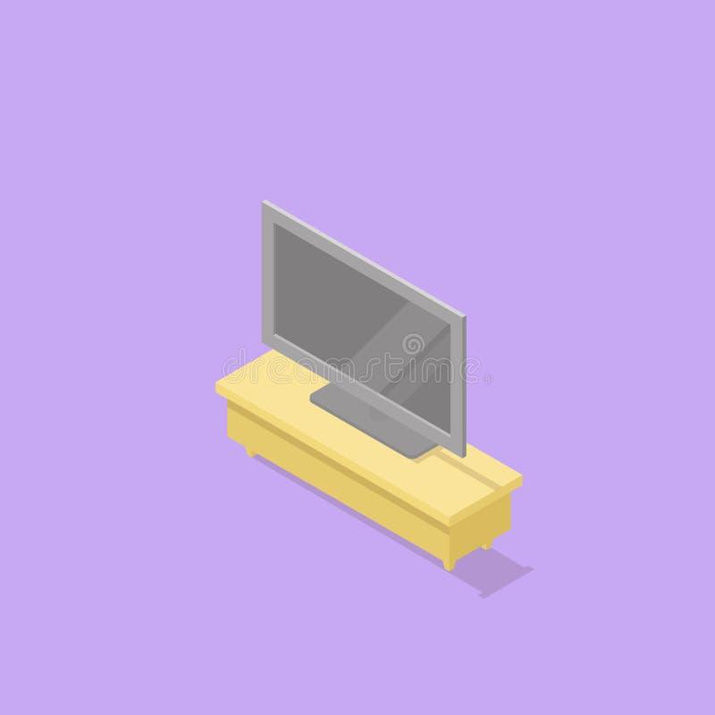 Низкая поли равновеликая стойка ТВ с ТВ иллюстрация штока