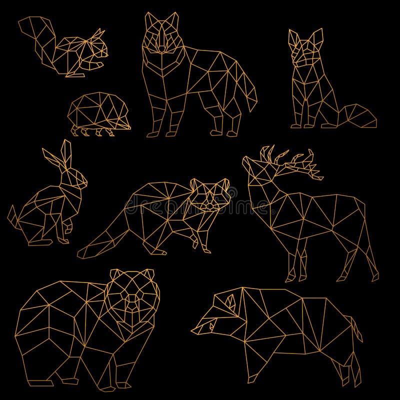 Низкая поли роскошная золотая линия установленные животные Линия животные золота poligonal Origami Медведь волка, олень, дикий ка бесплатная иллюстрация