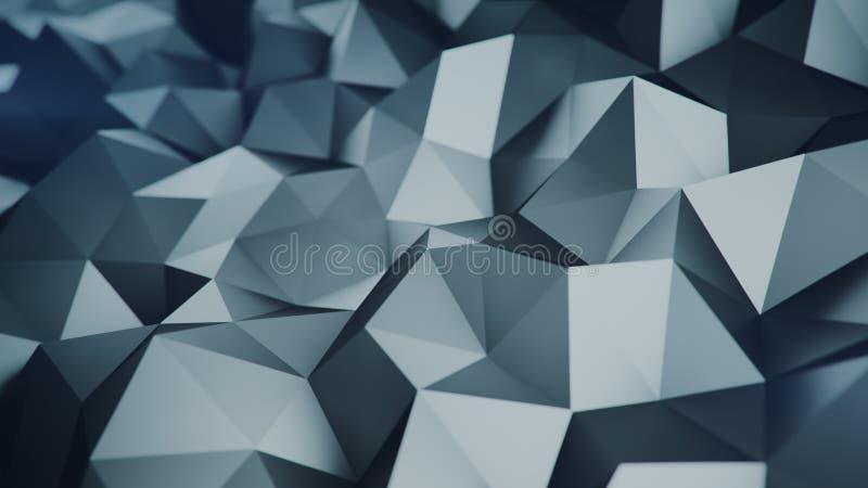 Низкая поли серая поверхность 3D представляя абстрактную предпосылку иллюстрация штока