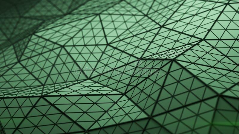 Низкая поли triangulated поверхность 3D представляет иллюстрация штока