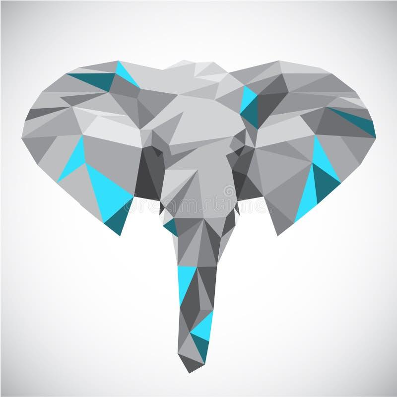 Низкая полигональная голова слона в популярном стиле иллюстрация штока