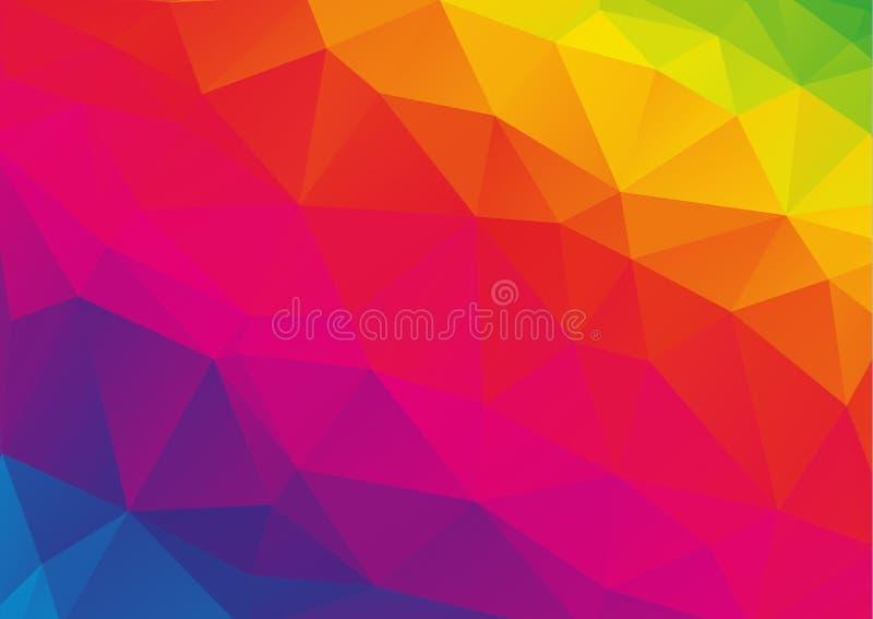 Низкая полигональная предпосылка радуги (спектра) иллюстрация вектора