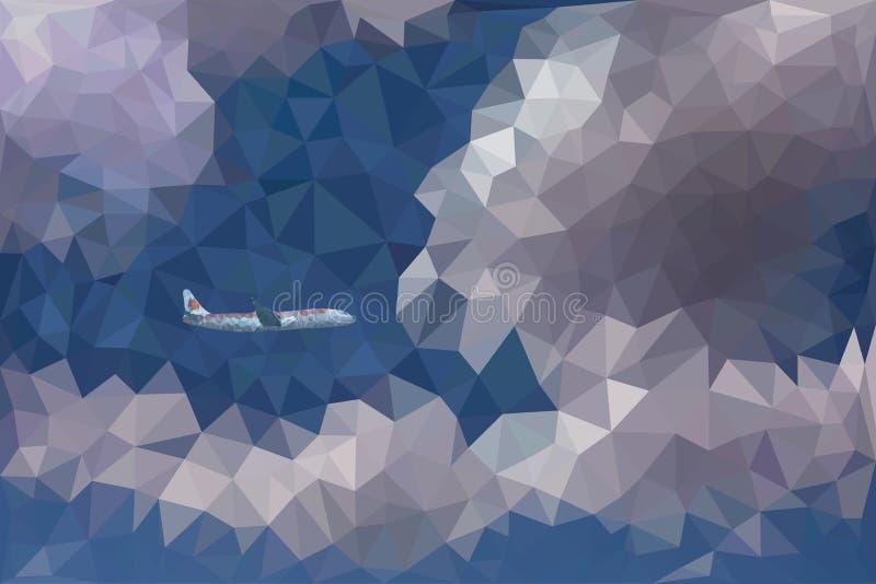Низкая поли иллюстрация вектора драматического неба, облаков и самолета бесплатная иллюстрация