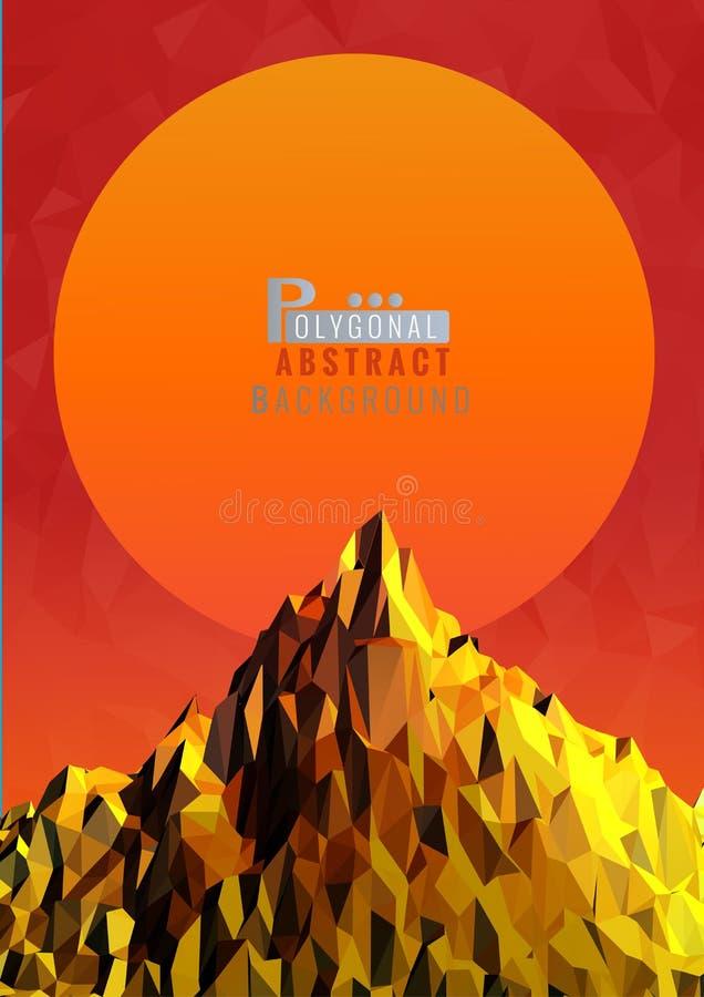 Низкая поли иллюстрация горы с космосом предпосылки захода солнца иллюстрация вектора