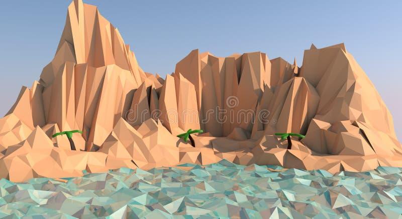 Низкая поли иллюстрация пляжа острова стоковое фото rf
