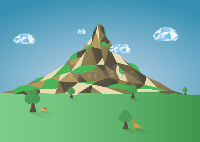 Низкая поли предпосылка горы иллюстрация вектора